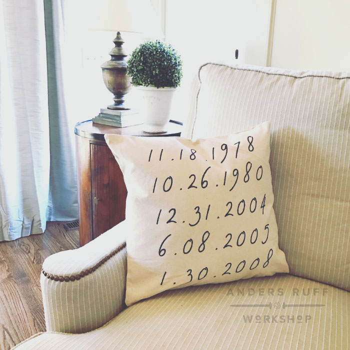 important dates pillow cover
