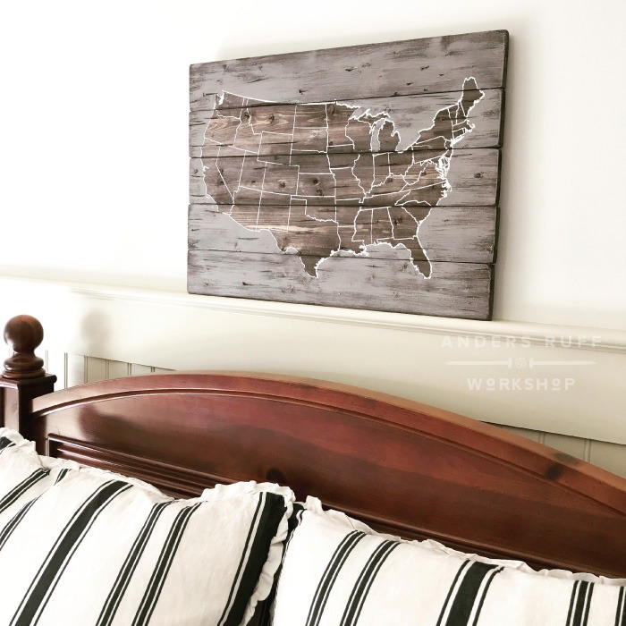 USA Map Wood Sign diy wood sign painting studio