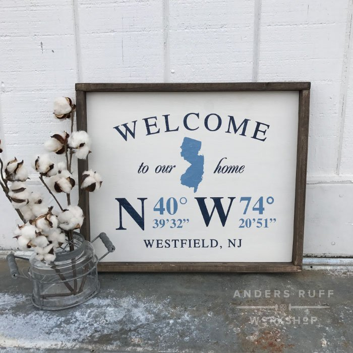 new jersey wood framed sign coordinates gps