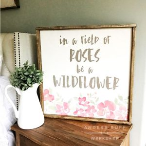 watercolor technique wood framed sign flowers