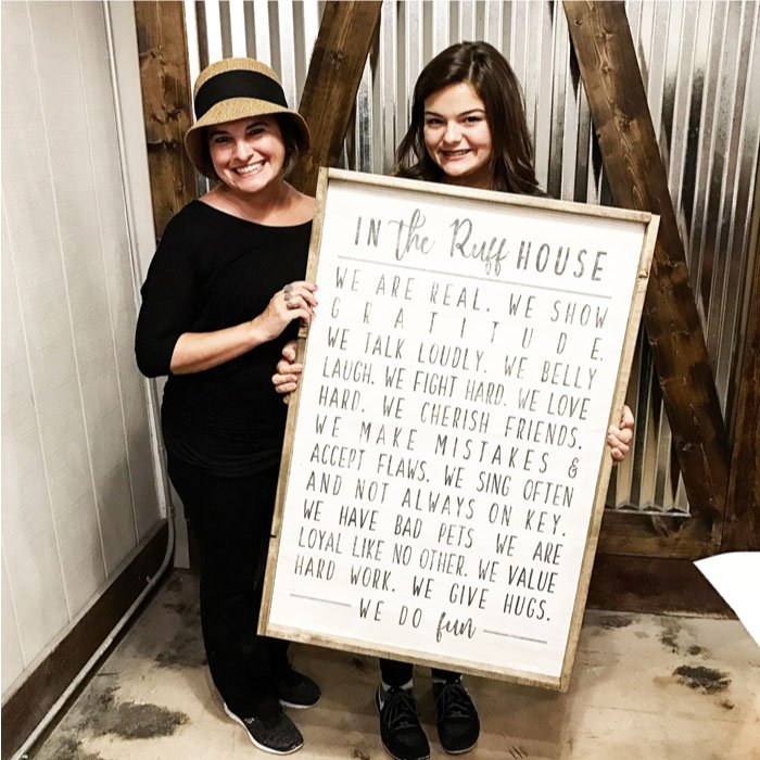 in this house rules wood sign