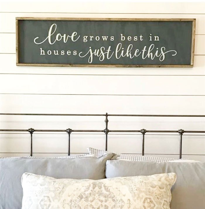 oversized over the bed sign love grows best sign