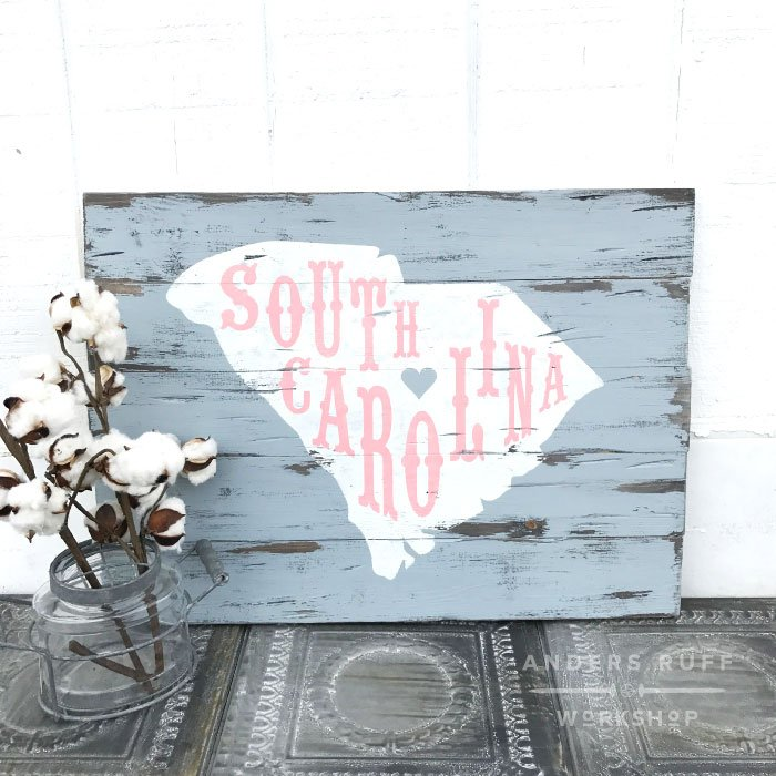 south carolina rustic wood sign