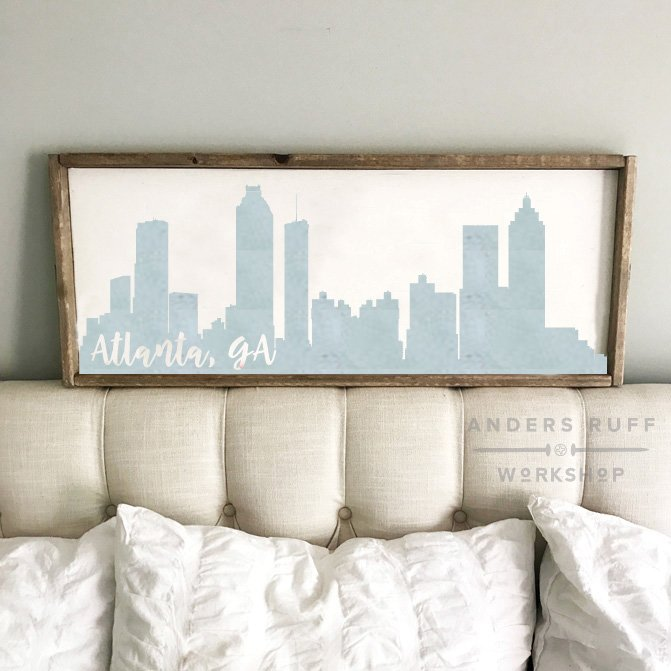 wood atlanta skyline sign