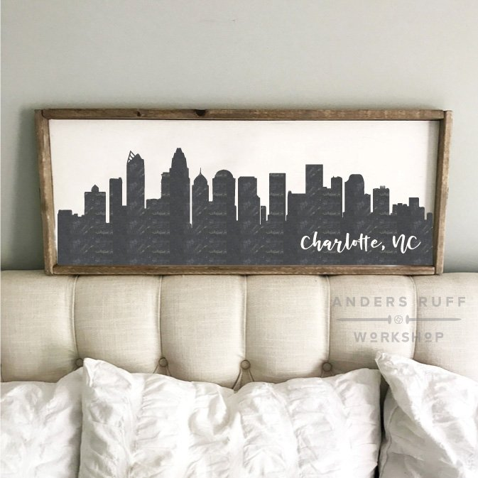 charlotte skyline wood sign