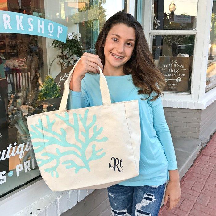 monogrammed coral beach bag