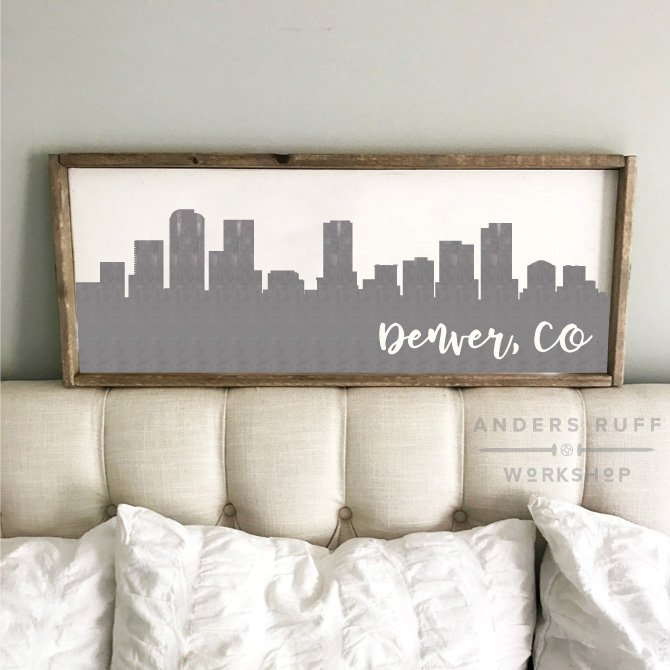 denver skyline wall hanging