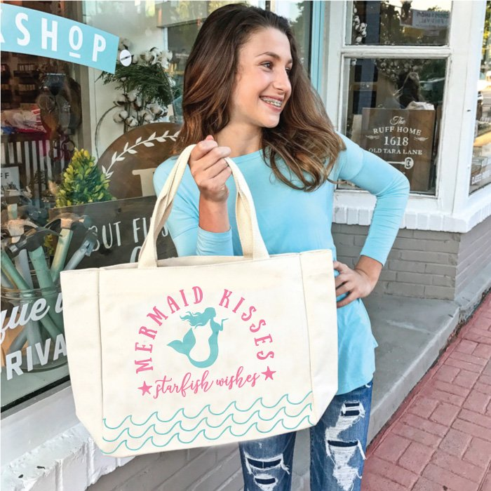 mermaid kisses starfish wishes tote bag