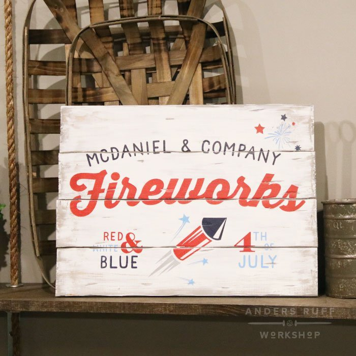 plank 4th of july flag wood sign