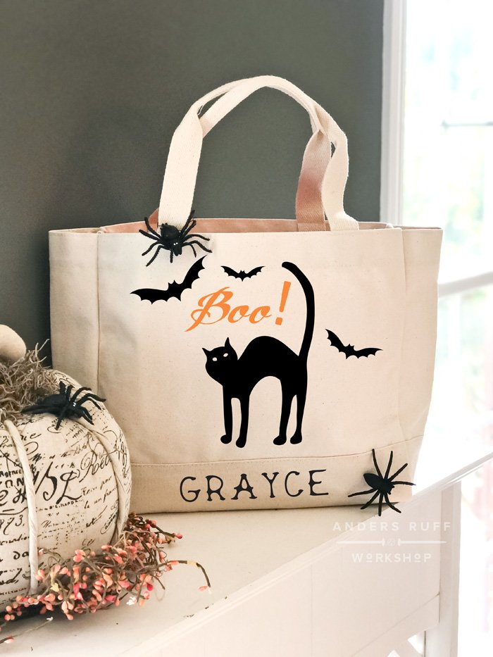 cat halloween personalized trick or treat bag