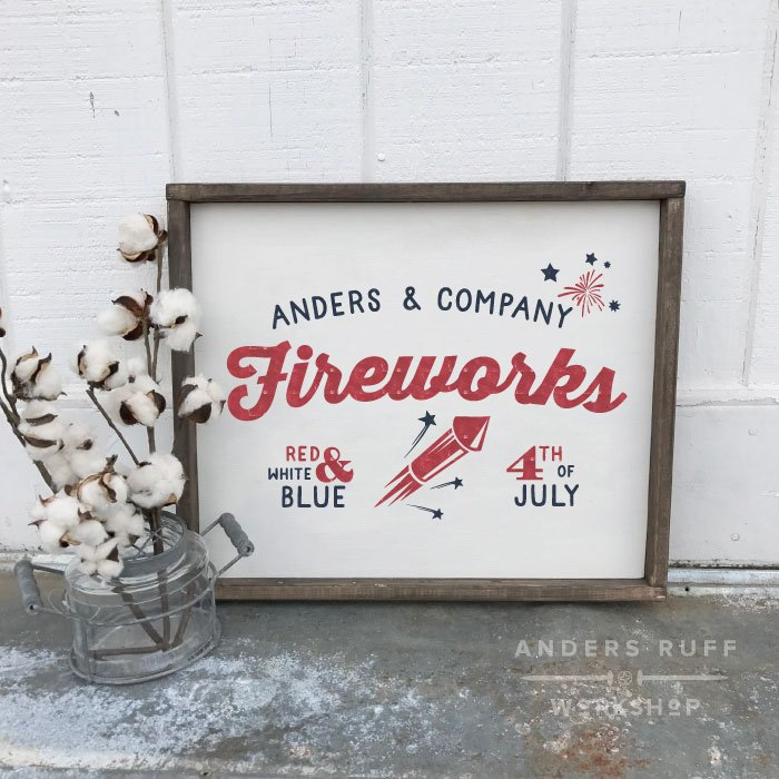 fireworks fourth of july framed sign