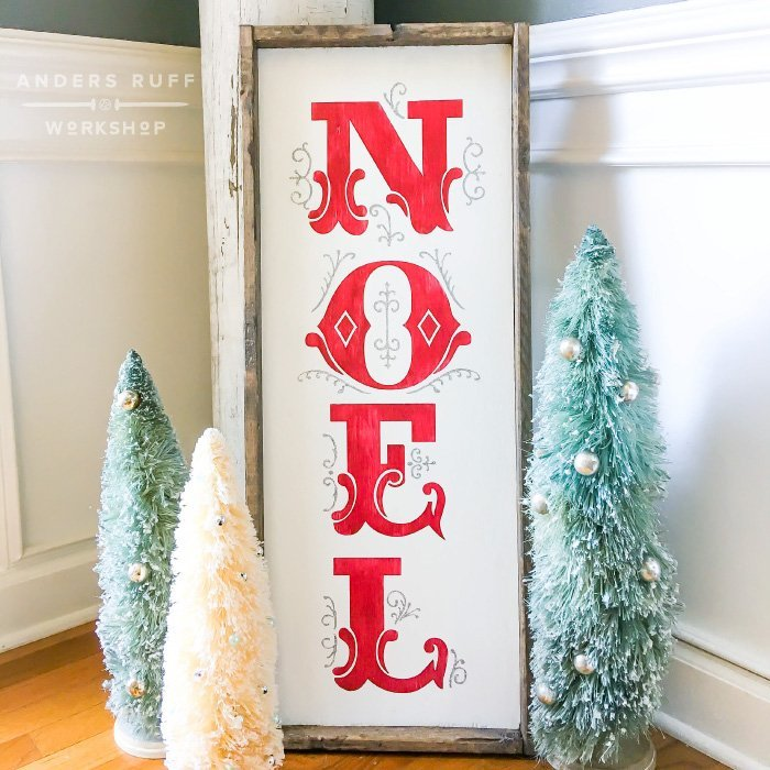 wood sign noel christmas framed