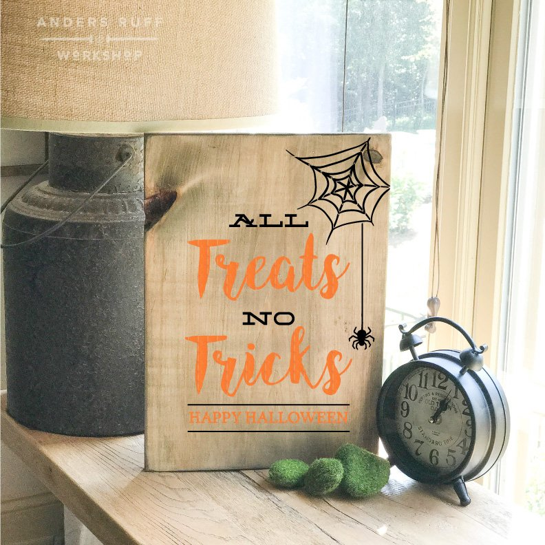 all tricks no treats halloween plank board sign