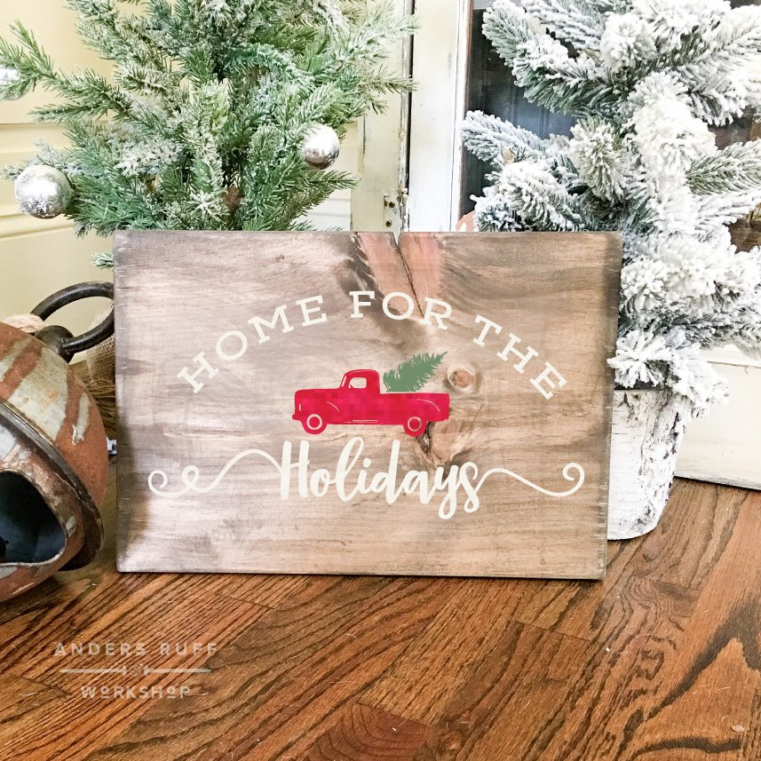 home for the holidays vintage truck plank board sign 1216 - Southern Womens Christmas Show