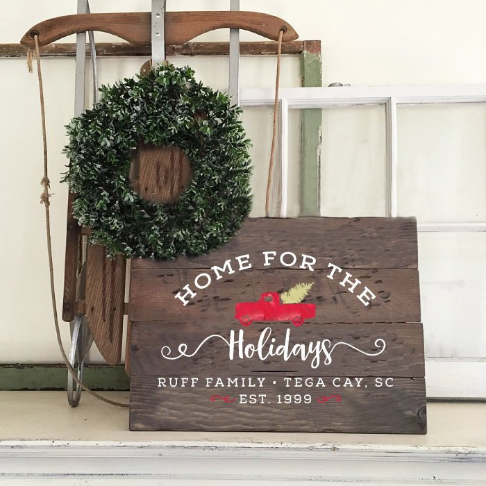 home for the holidays christmas wood sign diy