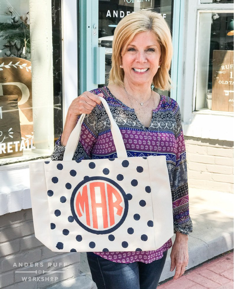 Monogram Polka Dot Canvas Tote Bag personalized