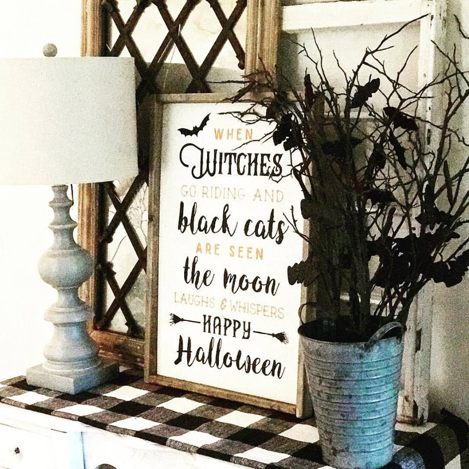 Halloween Framed Wood Sign