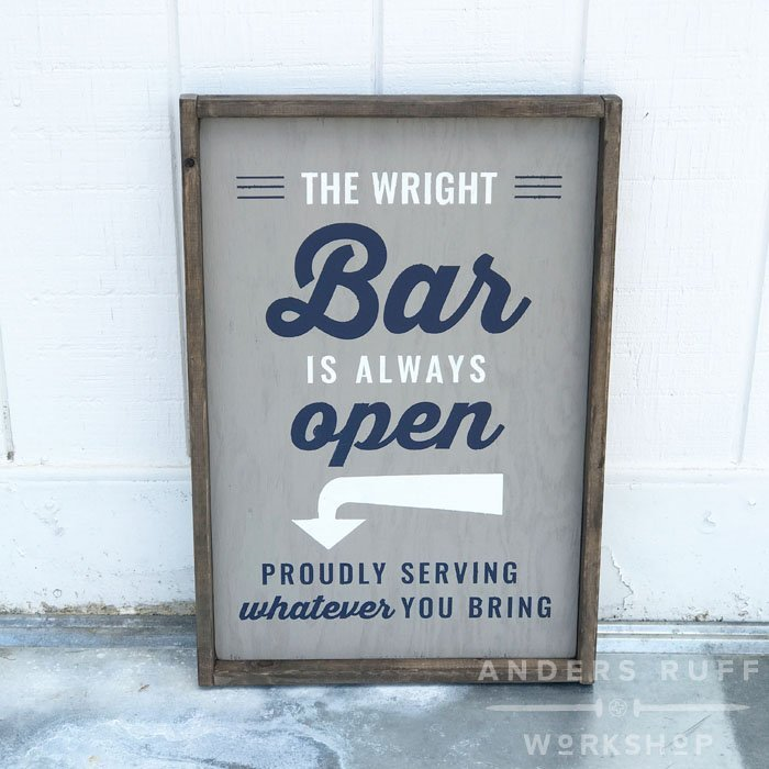 bar is always open customized home decor framed sign