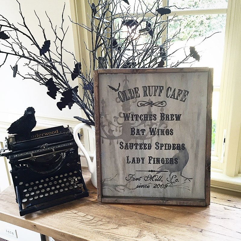 Halloween Cafe Framed Wood Sign