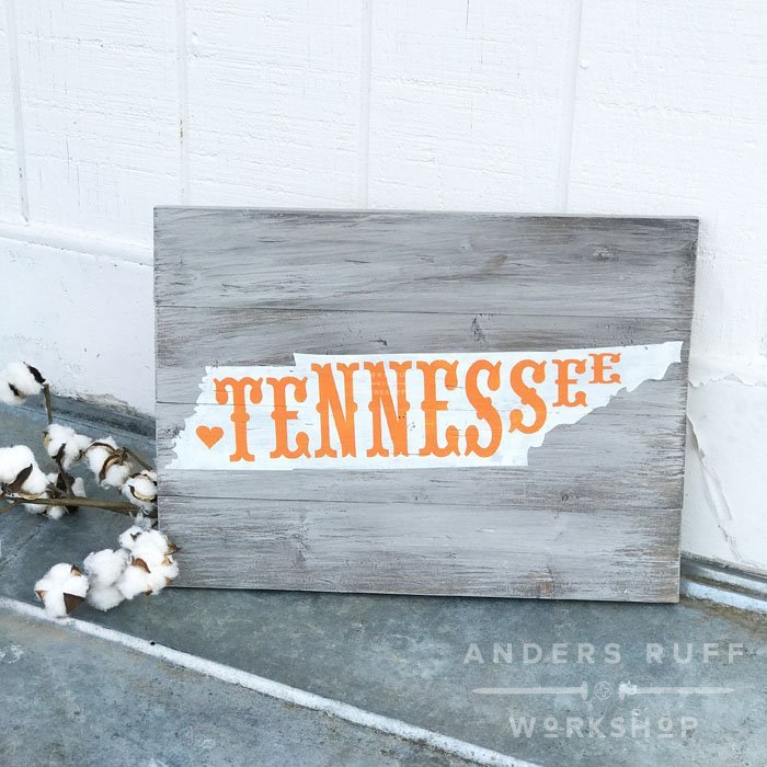 state typography tennessee plank wood sign