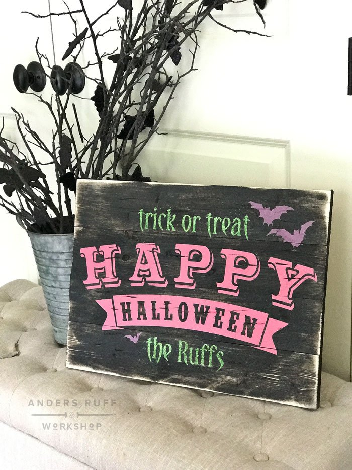 Happy Halloween Plank Wood Sign