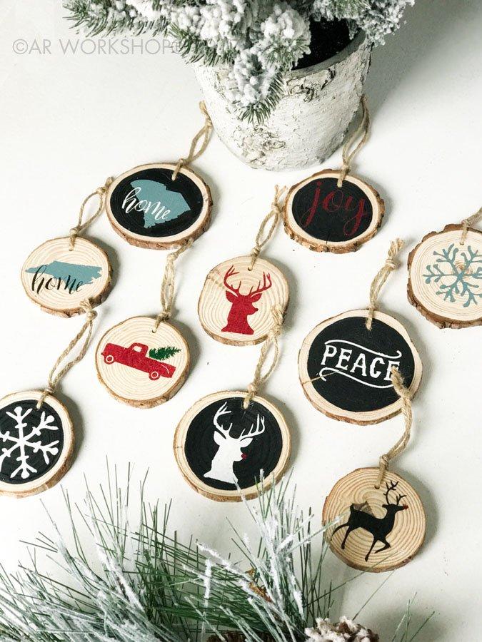 wood slice ornaments christmas diy