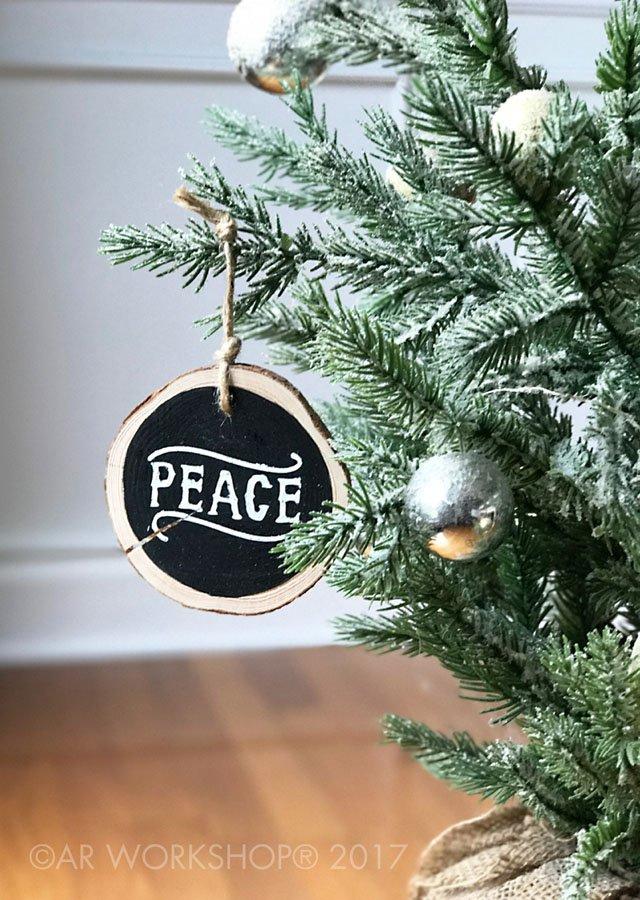 wood slice ornament peace