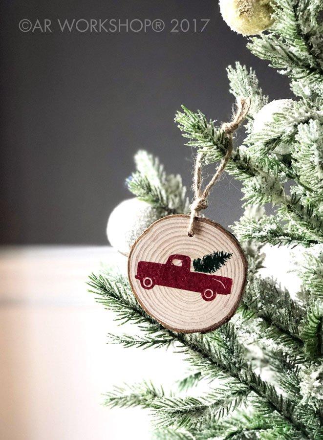 wood slice ornament christmas tree truck