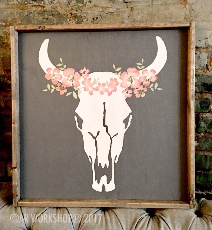 bohemian floral cow skull oversized framed sign
