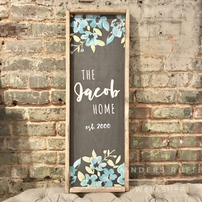 Floral family name established framed sign