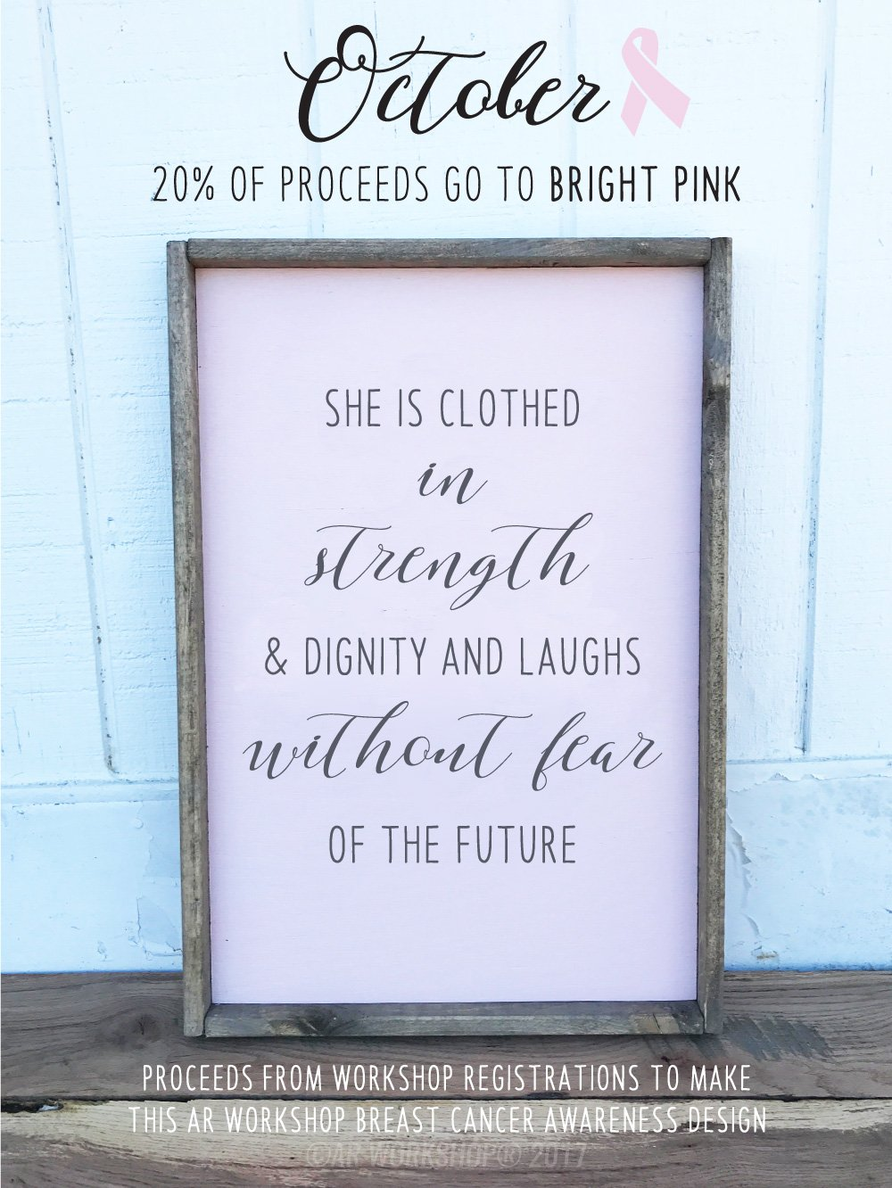 she is clothed in strength framed wood sign diy project