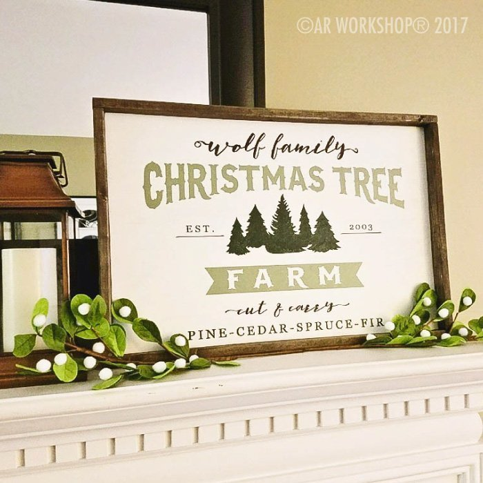 christmas tree farm cut and carry framed wood sign diy holiday decor
