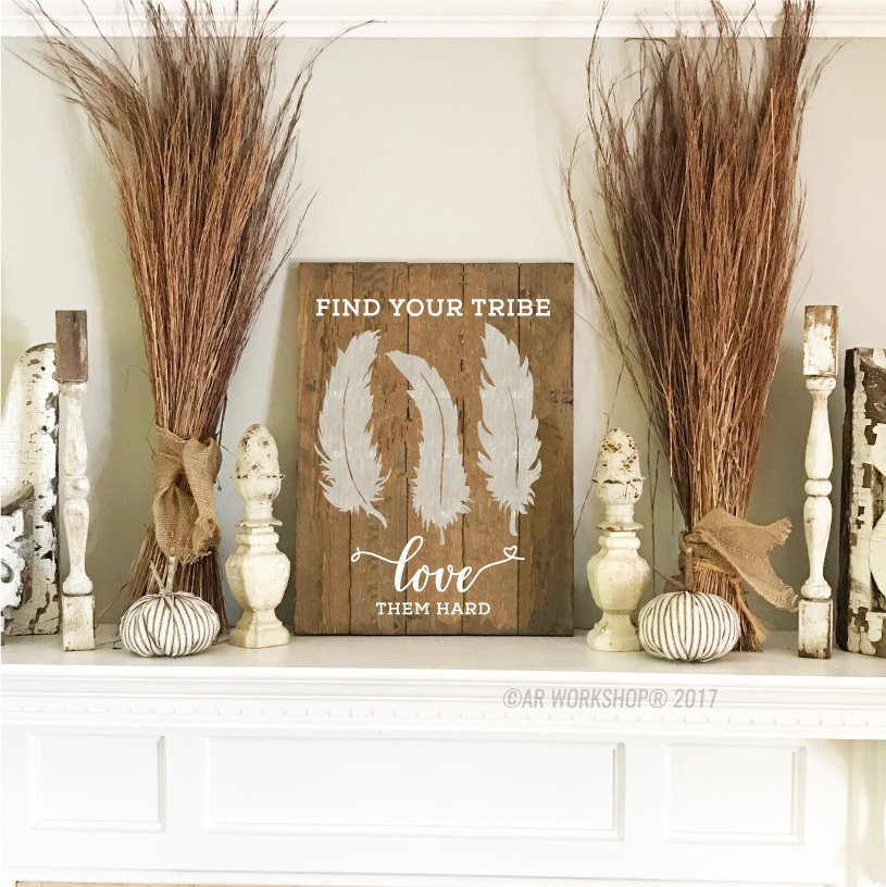 find your tribe love them hard plank sign thanksgiving