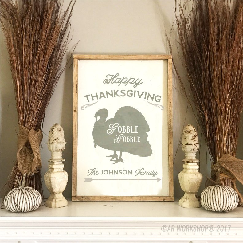 Happy Thanksgiving Gobble Gobble Framed Sign Decor