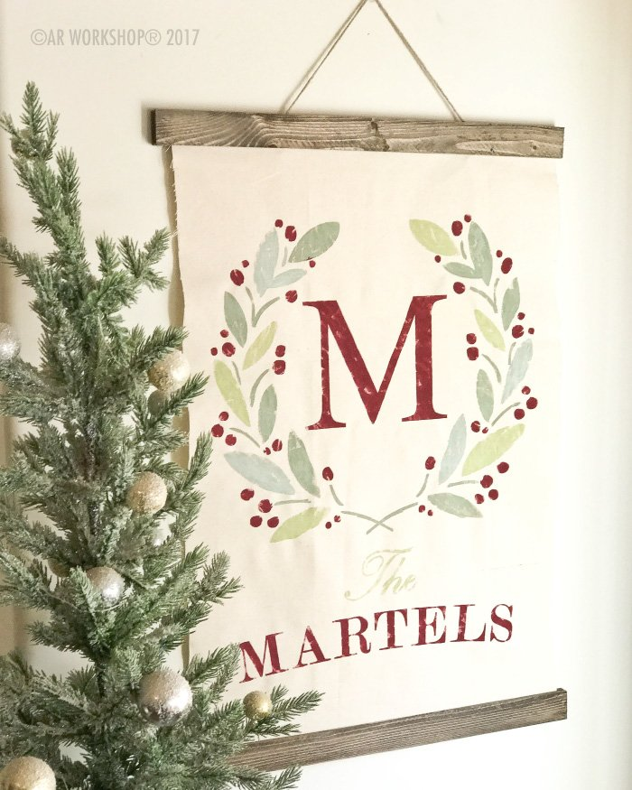 Holiday Wreath Monogram Canvas Wall Hanging