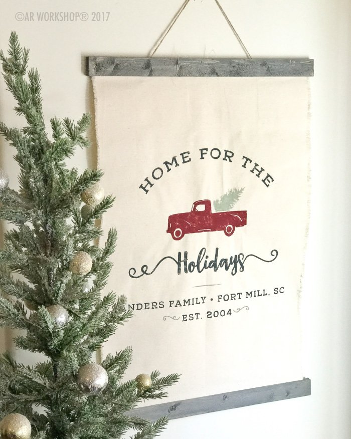 Vintage Truck Home for the Holidays Canvas Wall Hanging