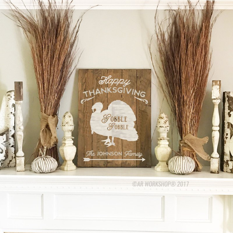 Happy Thanksgiving Gobble Gobble Plank Sign decor holiday