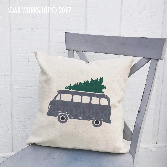 vintage bus tree pillow christmas
