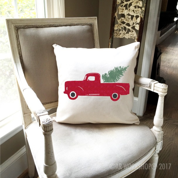 vintage truck tree pillow christmas