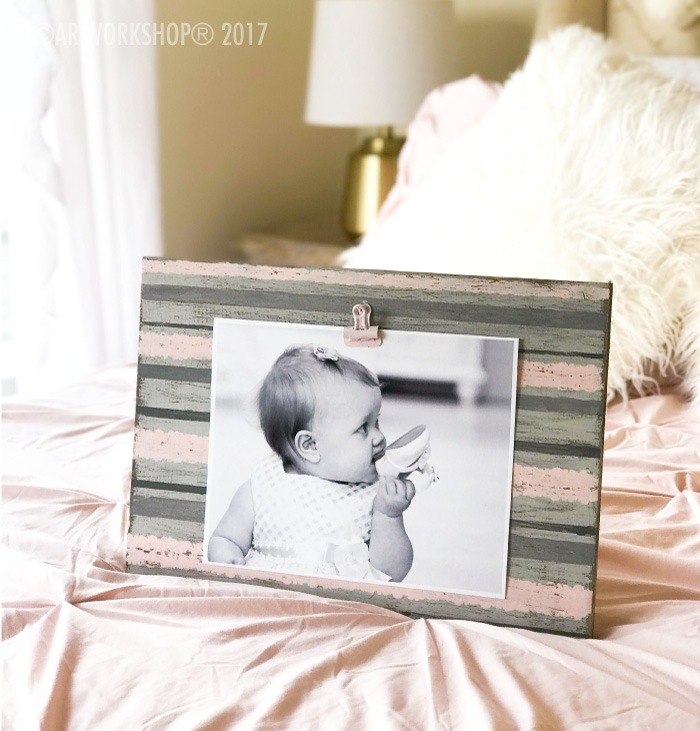 MACRAME STRIPE WOOD PHOTO FRAME