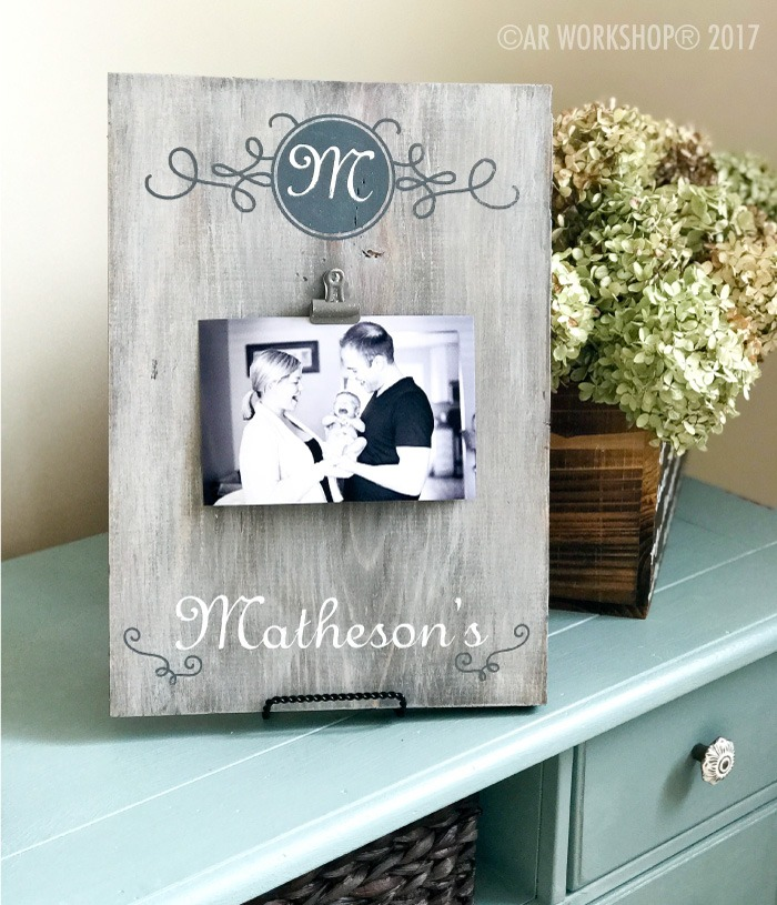MONOGRAM SCROLL FAMILY NAME WOOD PHOTO FRAME