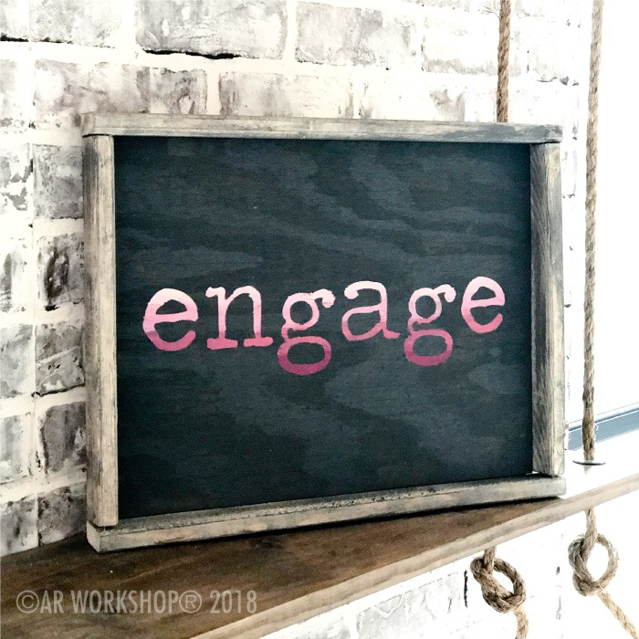 typewriter font - your word - 14x18 framed sign (any word) engage