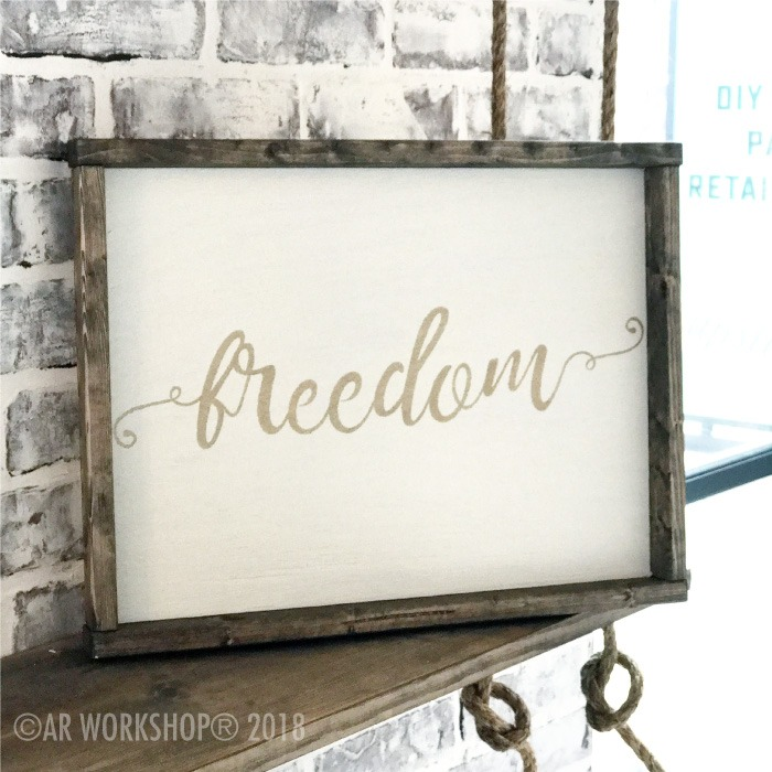 frilly font - your word - 14x18 framed sign (any word) freedom