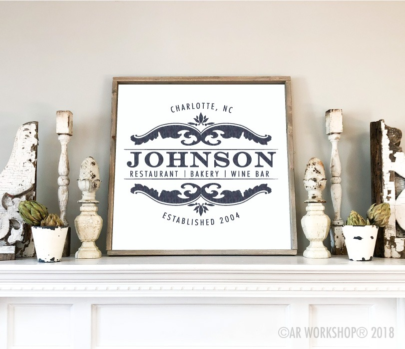 french inspired family name framed sign mantle