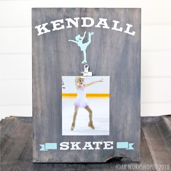ice skater youth wood photo frame