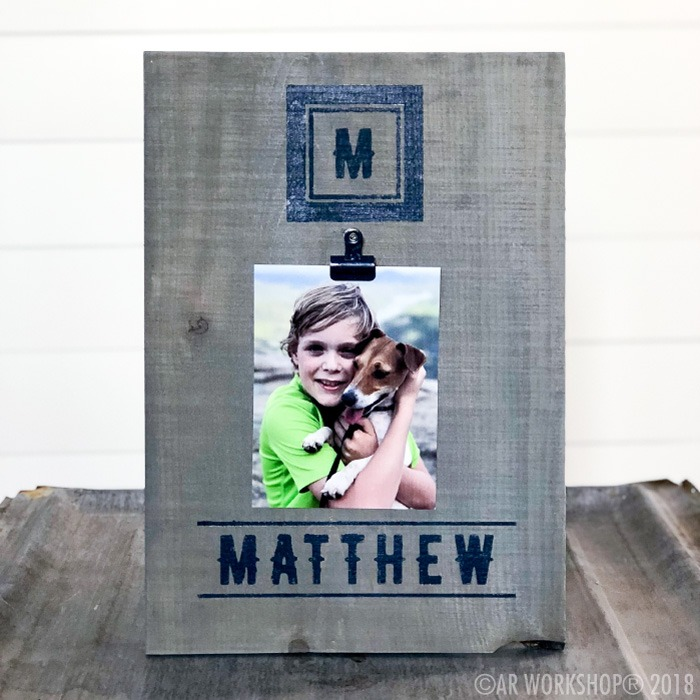 modern initial name youth wood photo frame