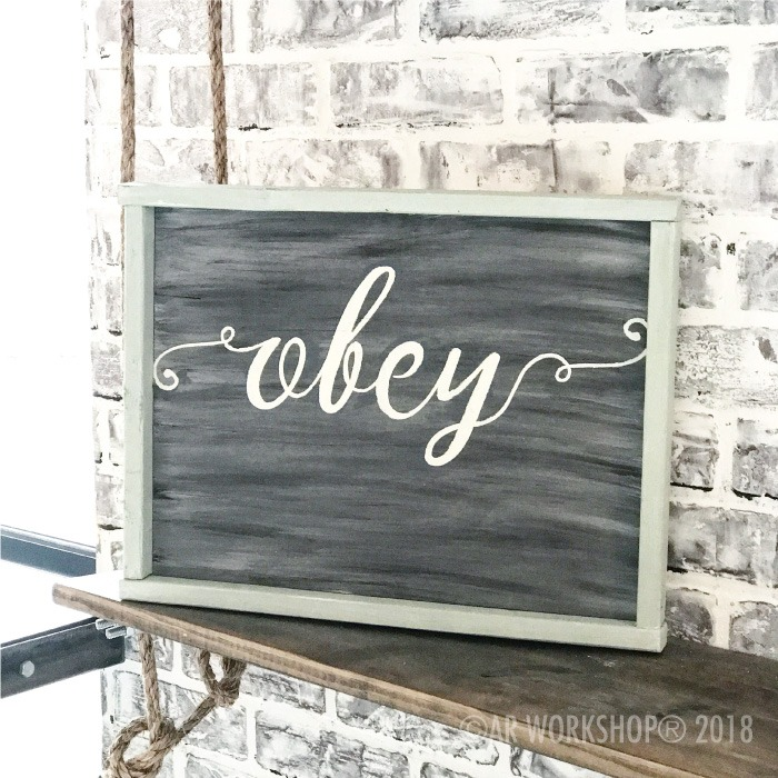 frilly font - your word - 14x18 framed sign (any word) obey