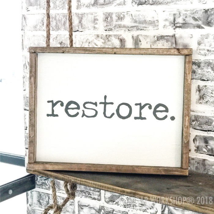 typewriter font - your word - 14x18 framed sign (any word) restore