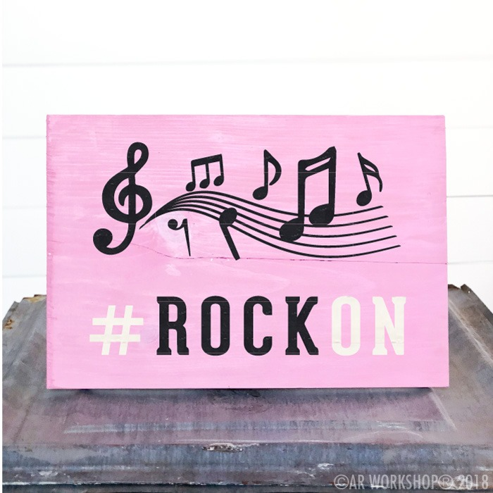 rock on music notes youth plank sign