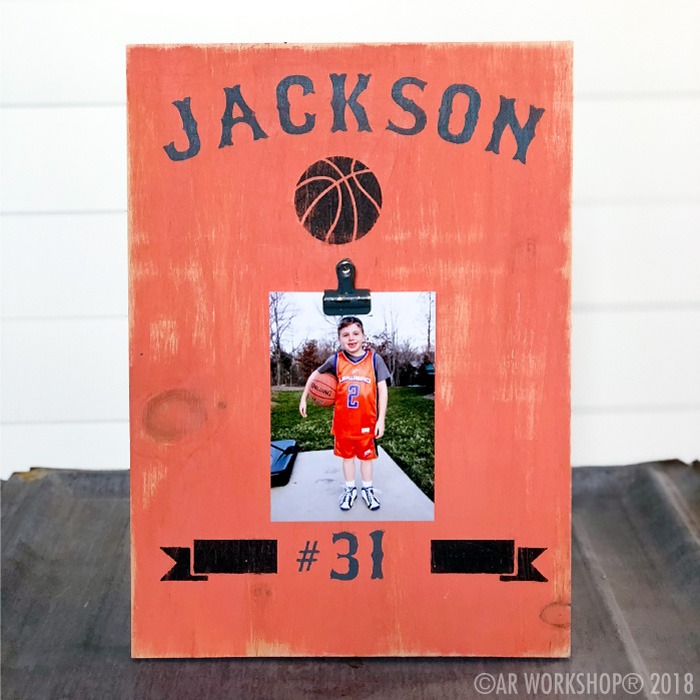 sports name team basketball youth wood photo frame
